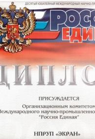 Диплом  Россия Единая 2005